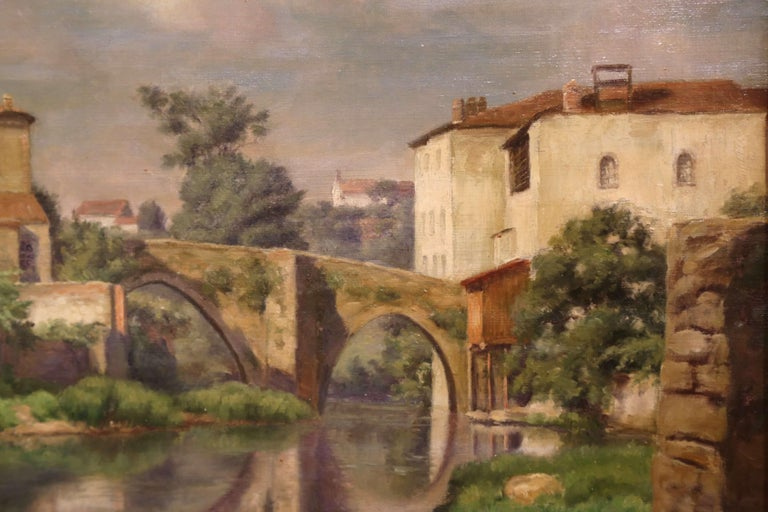 Early 20th Century Village in Provence Oil on Canvas Painting in Gilt Frame For Sale 1