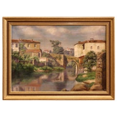 Early 20th Century Village in Provence Oil on Canvas Painting in Gilt Frame