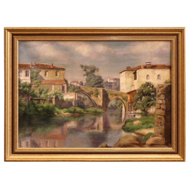 Early 20th Century Village in Provence Oil on Canvas Painting in Gilt Frame For Sale