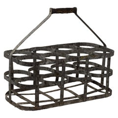 Early 20th Century Vintage French Eight Bottle Wine Carrier Basket
