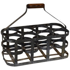 Early 20th Century Vintage French Eight Bottle Wine Carrier Basket from France
