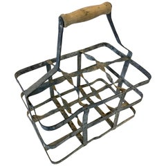 Early 20th Century Vintage French Six Bottle Wine Carrier Basket from France