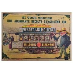 Early 20th Century Vintage French Wine Lithograph, 'Traitez Vos Vignes'