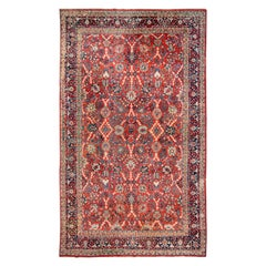 Early 20th Century Vintage Mahal Wool Rug
