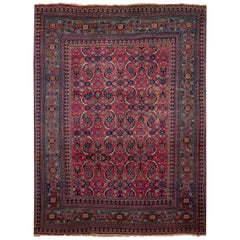 Early 20th Century Vintage Mashad Style Wool Rug