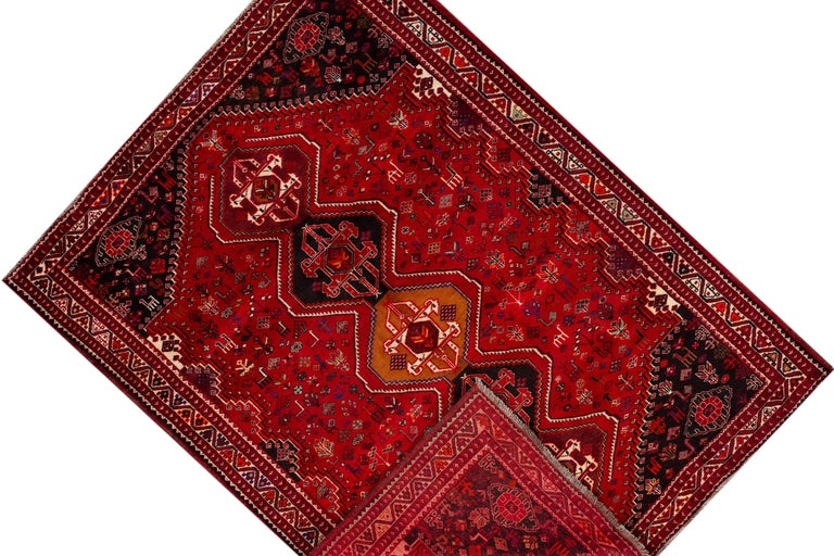 Persian Early 20th Century Vintage Shiraz Wool Rug For Sale