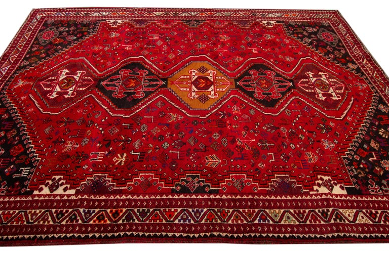 Hand-Knotted Early 20th Century Vintage Shiraz Wool Rug For Sale