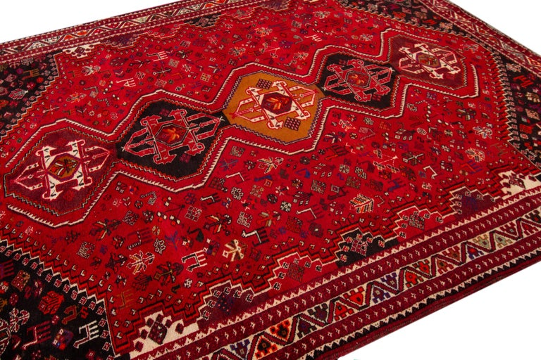 Early 20th Century Vintage Shiraz Wool Rug For Sale 1