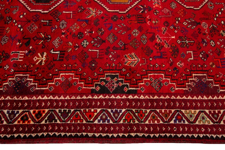 Early 20th Century Vintage Shiraz Wool Rug For Sale 3
