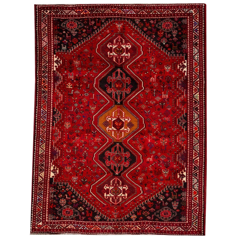 Early 20th Century Vintage Shiraz Wool Rug For Sale