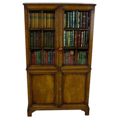 Early 20th Century Walnut and Oak Glazed Bookcase