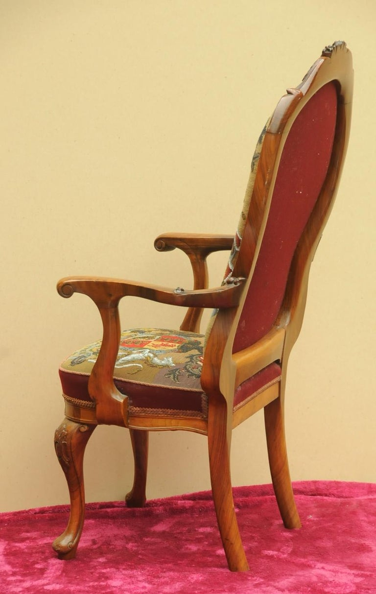 Early 20th Century Walnut Armchair Upholstered with ...