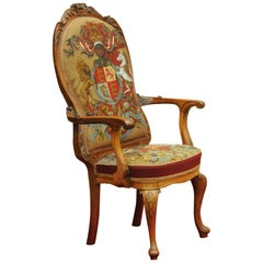 Early 20th Century Walnut Armchair Upholstered with Tapestry & Beadwork Fabric