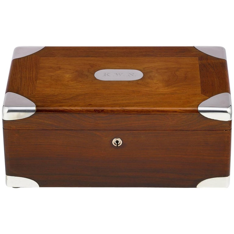 Early 20th Century Walnut Cigar Humidor, circa 1900 with Sterling Silver Corners For Sale