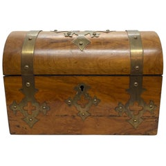Early 20th Century Walnut Dome Topped Gothic Style Box, English, 1900s