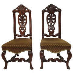 Early 20th Century Walnut Hall Chairs