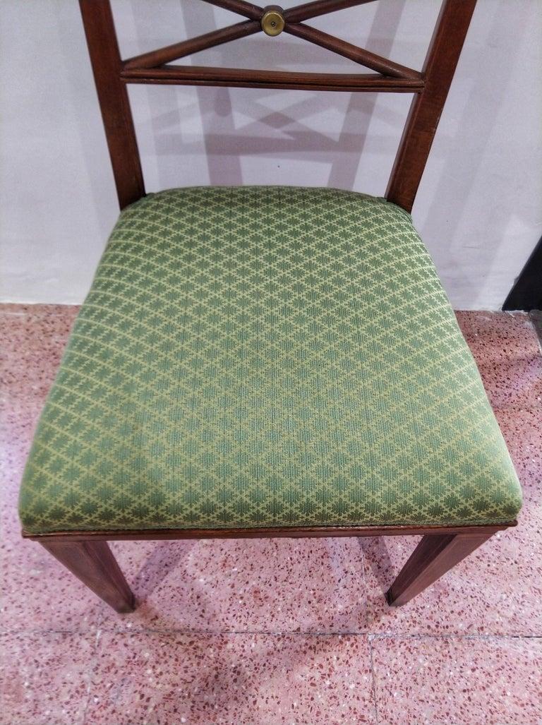 Early 20th Century Walnut Italian Chair Louis XVI Style For Sale 1