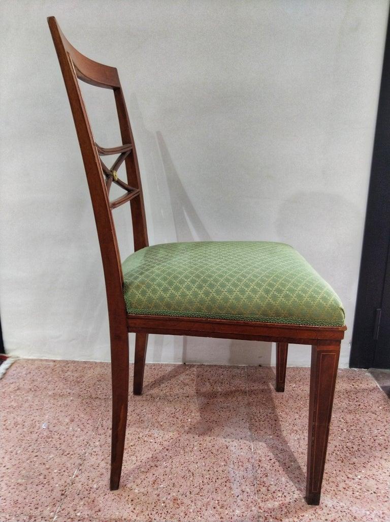 Early 20th Century Walnut Italian Chair Louis XVI Style For Sale 4