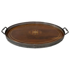 Early 20th Century Walnut Serving Tray with Inlay
