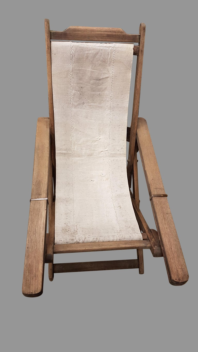 Colonial Revival Early 20th Century Weathered Teak Colonial Plantation Lounger Chair For Sale