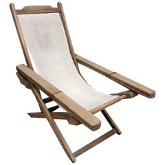 Early 20th Century Weathered Teak Colonial Plantation Lounger Chair
