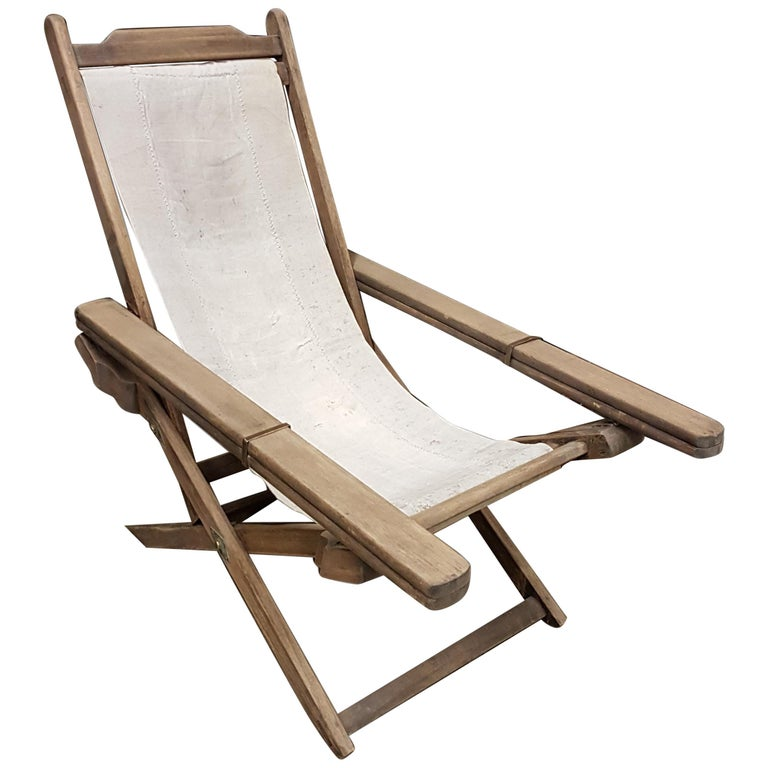 Early 20th Century Weathered Teak Colonial Plantation Lounger Chair For Sale