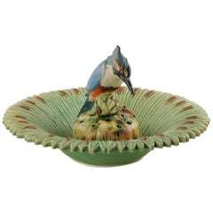 Early 20th Century Weller Ware Ardsley Kingfisher Flower Frog and Cattail Bowl