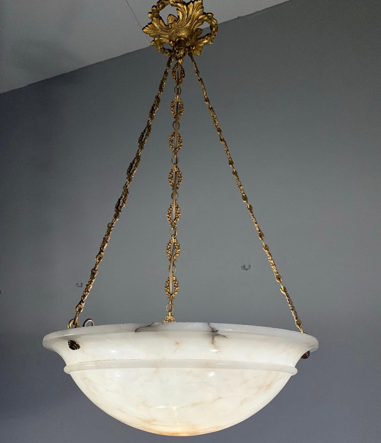 Hand-Carved Nice Early 1900 White Alabaster Art Deco Pendant & Stunning Gilt Bronze Chain For Sale