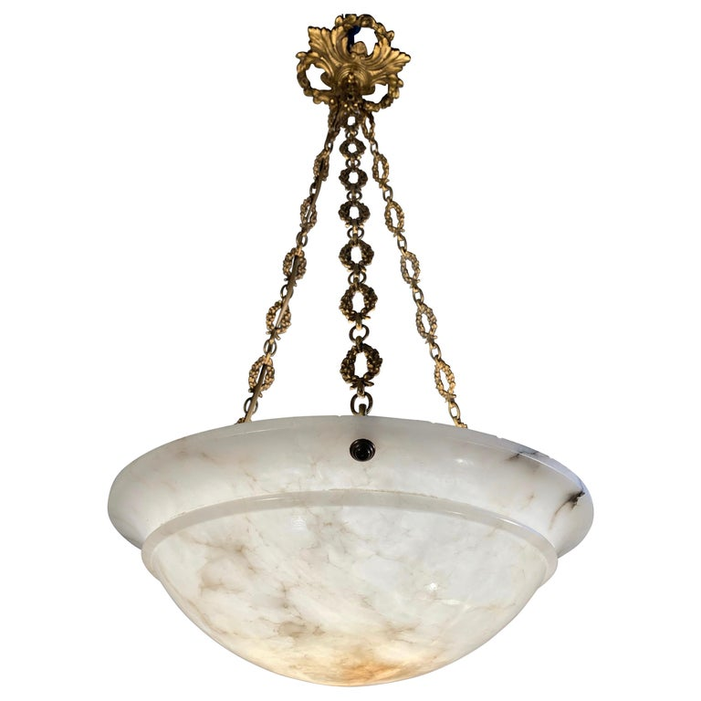Nice Early 1900 White Alabaster Art Deco Pendant & Stunning Gilt Bronze Chain For Sale