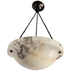 Early 20th Century White and Black Veins Art Deco Alabaster Pendant / Chandelier
