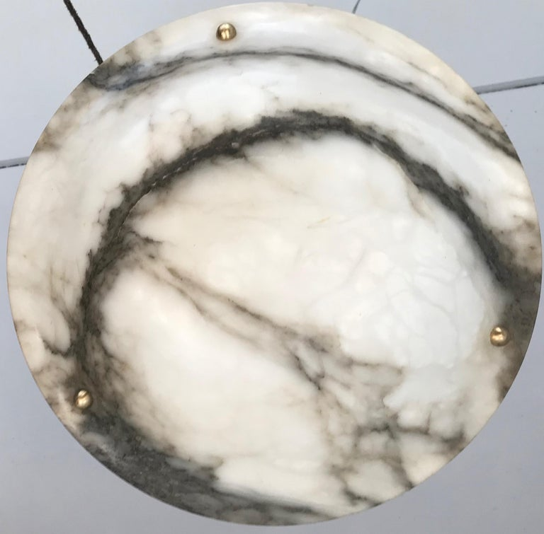 Early 20th Century White & Black Veins Art Deco Alabaster Flush Mount or Pendant For Sale 4