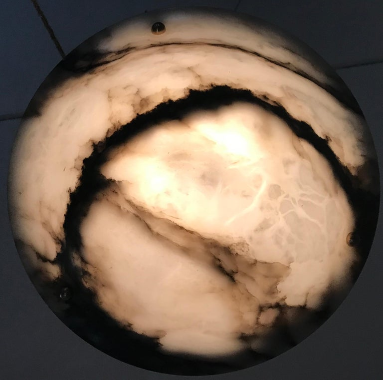 Early 20th Century White & Black Veins Art Deco Alabaster Flush Mount or Pendant For Sale 5