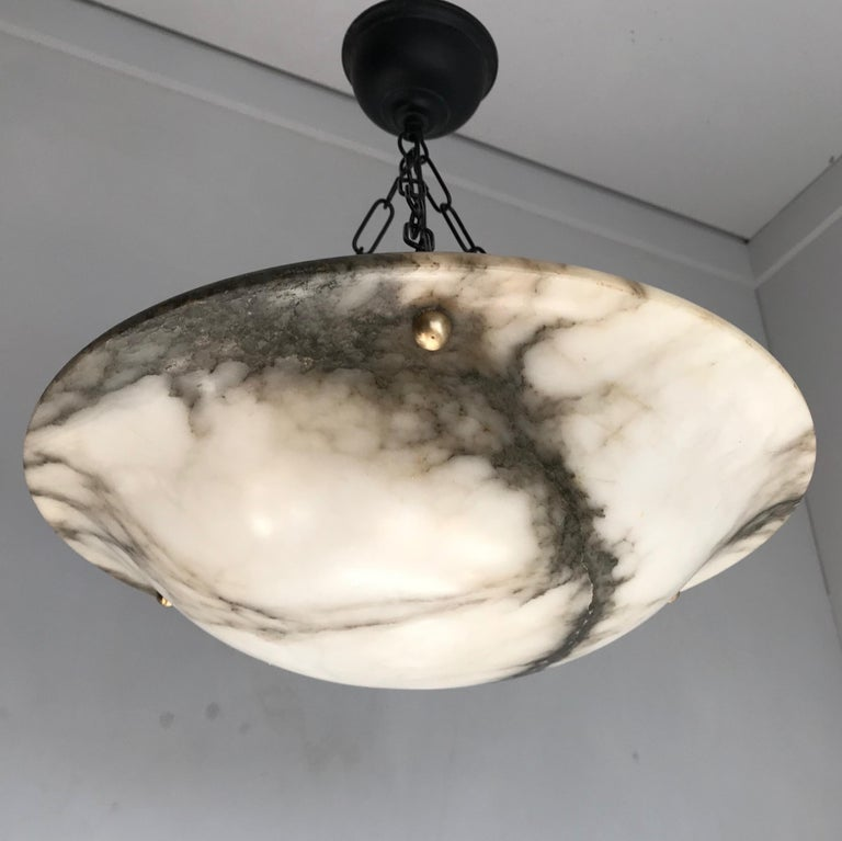 Early 20th Century White & Black Veins Art Deco Alabaster Flush Mount or Pendant For Sale 6
