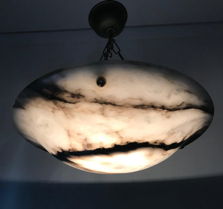 Early 20th Century White & Black Veins Art Deco Alabaster Flush Mount or Pendant For Sale 7
