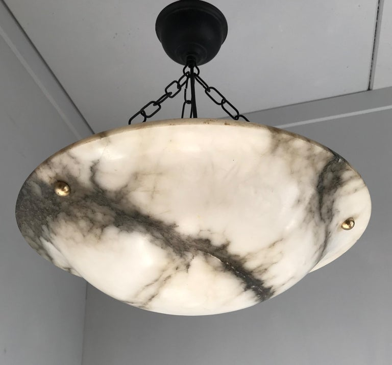Early 20th Century White & Black Veins Art Deco Alabaster Flush Mount or Pendant For Sale 9