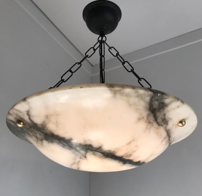 Early 20th Century White & Black Veins Art Deco Alabaster Flush Mount or Pendant For Sale 10