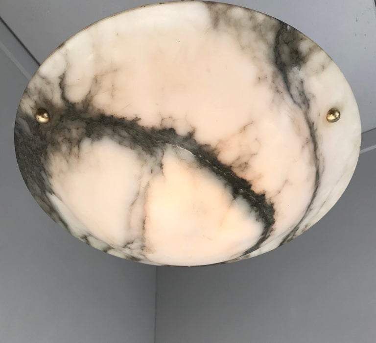 Early 20th Century White & Black Veins Art Deco Alabaster Flush Mount or Pendant For Sale 11
