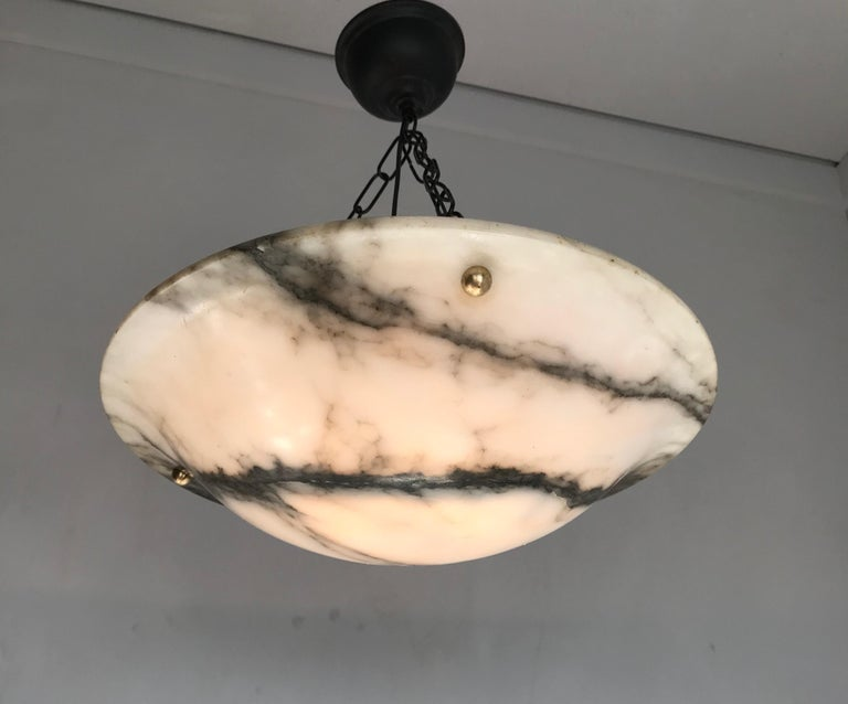 Early 20th Century White & Black Veins Art Deco Alabaster Flush Mount or Pendant For Sale 12
