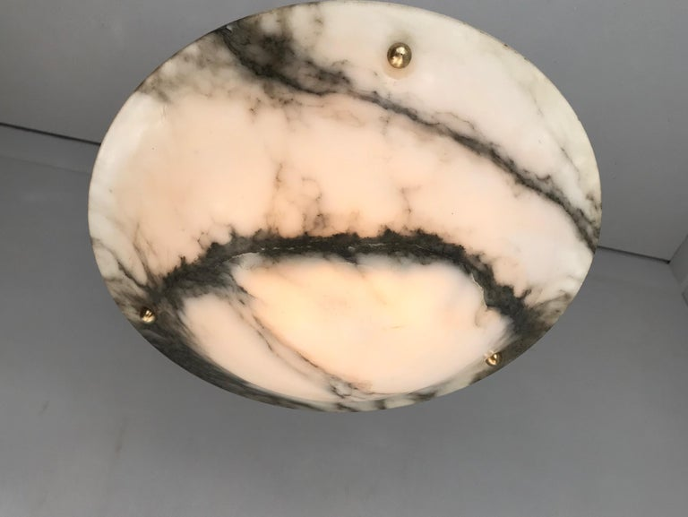 Early 20th Century White & Black Veins Art Deco Alabaster Flush Mount or Pendant For Sale 13