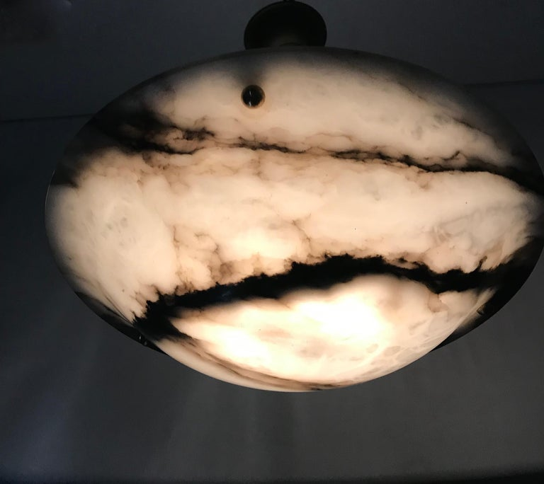 Early 20th Century White & Black Veins Art Deco Alabaster Flush Mount or Pendant For Sale 14