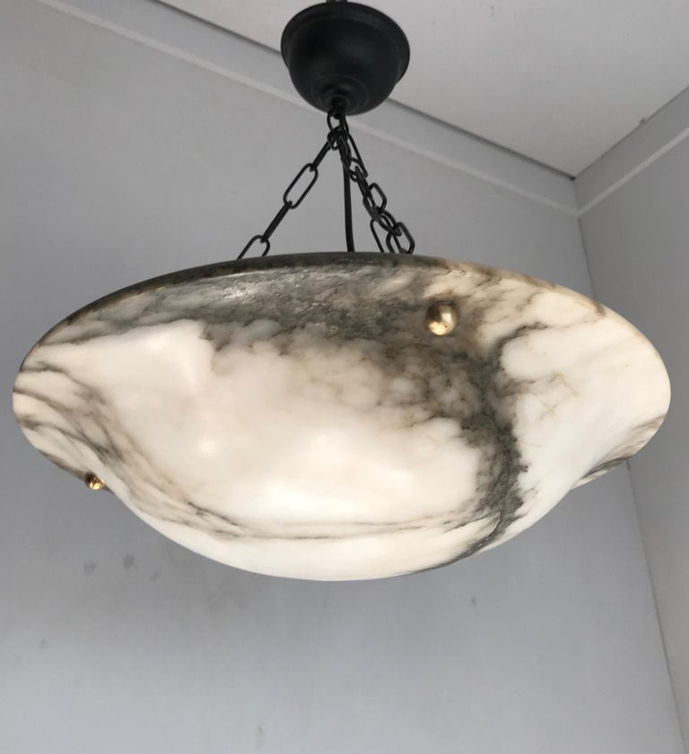 Hand-Carved Early 20th Century White & Black Veins Art Deco Alabaster Flush Mount or Pendant For Sale
