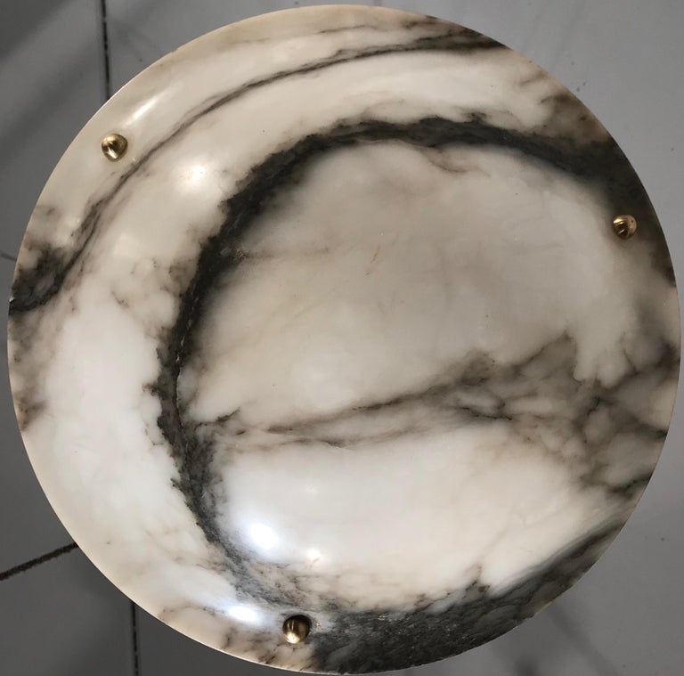 Early 20th Century White & Black Veins Art Deco Alabaster Flush Mount or Pendant In Good Condition For Sale In Lisse, NL