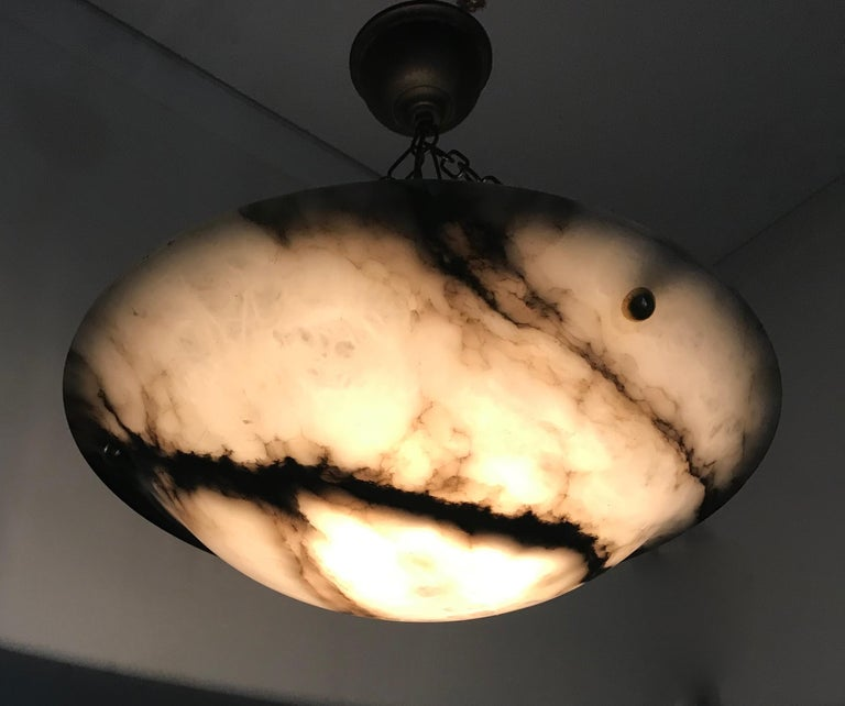 Metal Early 20th Century White & Black Veins Art Deco Alabaster Flush Mount or Pendant For Sale