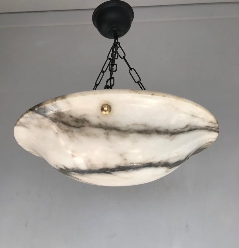 Early 20th Century White & Black Veins Art Deco Alabaster Flush Mount or Pendant For Sale 2