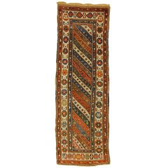 Early 20th Century White Blu Green Wool Caucasion Ghendje Runner Rug, circa 1920