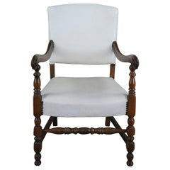 Early 20th Century William & Mary Style Mahogany Leather Nailhead Arm Chair