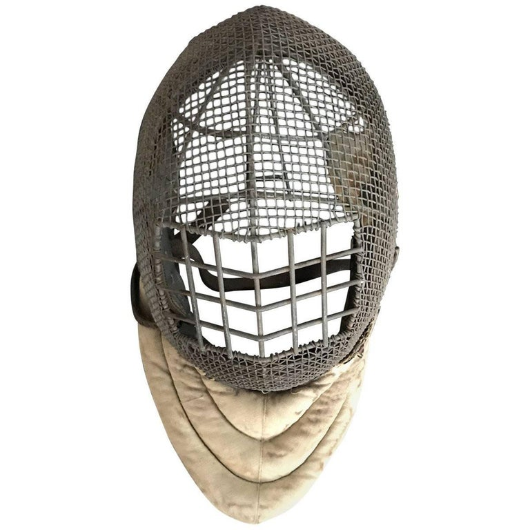 Early 20th Century Wire and Leather Fencing Mask For Sale