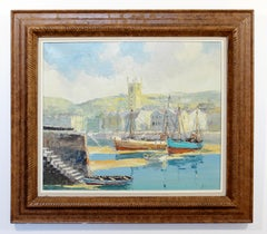 Early 20th Century Wood Framed Oil on Canvas Painting Bernard Laarhoven Harbor