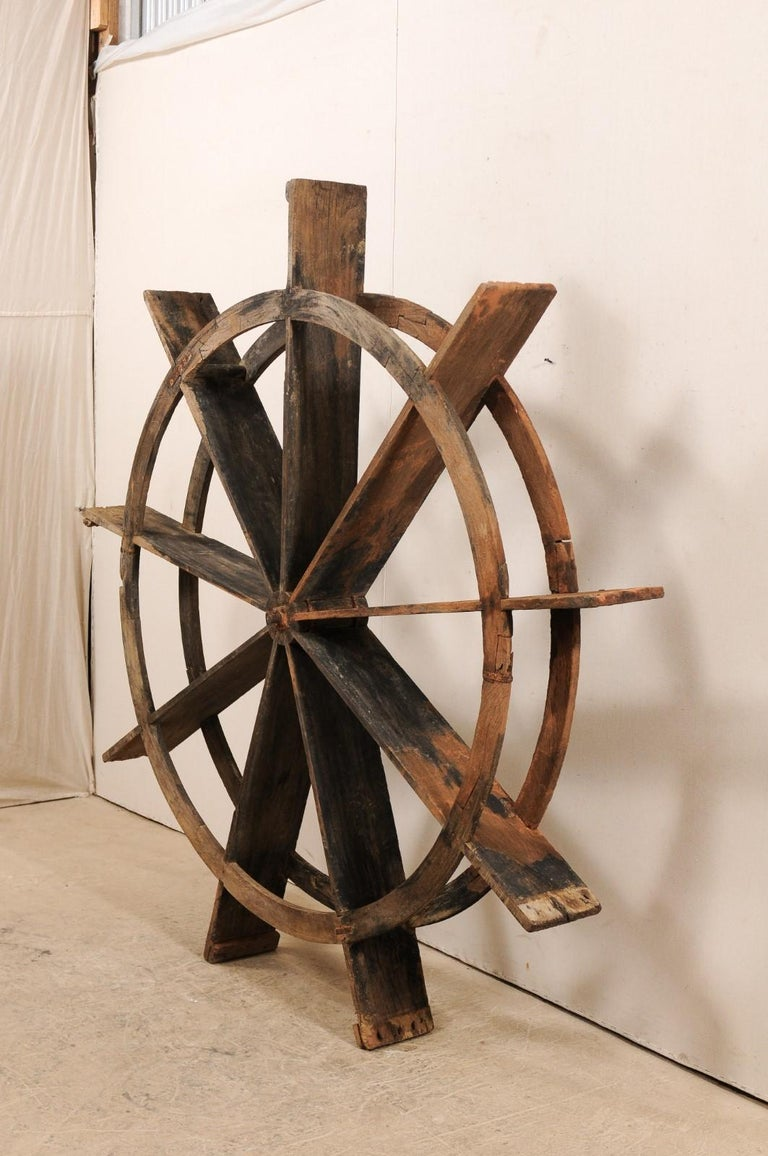 Early 20th Century Wood Water Wheel from Kerala, India In Good Condition For Sale In Atlanta, GA