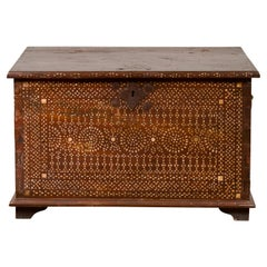 Early 20th Century Wooden Blanket Chest from Jakarta with Mother of Pearl Inlay